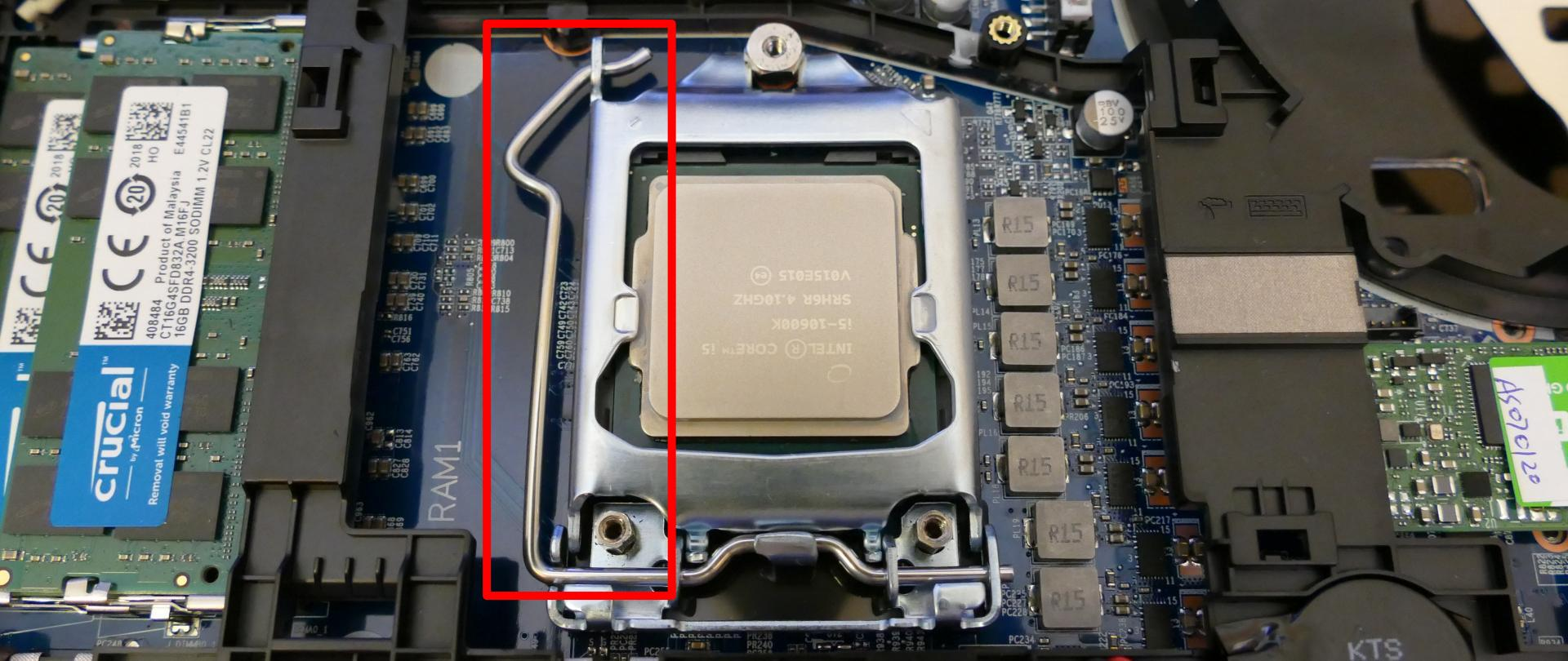 CPU lever (lowered)